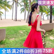 Dress Winter 2020 811m red, 811m black S,M,L longuette singleton  Sleeveless commute V-neck High waist Solid color Socket A-line skirt camisole 25-29 years old Type A The journey of migratory birds zipper 811m red More than 95% Chiffon polyester fiber