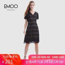 Dress Summer 2020 black XS S M L XL XXL longuette singleton  Short sleeve commute V-neck middle-waisted Solid color Socket A-line skirt 30-34 years old Emoo / Yangmen Lace More than 95% nylon Polyamide fiber (nylon) 100%