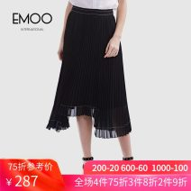 skirt Summer 2020 XS S M L XL XXL black longuette commute Natural waist Pleated skirt Solid color 25-29 years old 92C013543 More than 95% Emoo / Yangmen polyester fiber fold Polyester 100%
