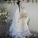 Hanfu 96% and above Summer 2020 White Cape, yellow stand collar, yellow horse face skirt, white horse face skirt polyester fiber