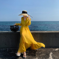 Dress Summer of 2019 Yellow, red S,M,L Mid length dress singleton  Long sleeves commute V-neck High waist Solid color Socket Big swing Wrap sleeves Others 18-24 years old Type A The journey of migratory birds Korean version Tuck, lace up H19CQ525-1IHIUHH More than 95% Chiffon
