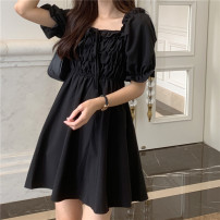 Dress Summer 2020 black Average size Short skirt singleton  Short sleeve commute square neck High waist Solid color other A-line skirt puff sleeve Others 18-24 years old Type A Retro 30% and below other