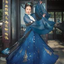 Hanfu 96% and above Autumn of 2018 T-shirt piece, cross collar top piece, waist length skirt piece S spot, m spot, l spot, XL spot, s pre-sale, m pre-sale, l pre-sale, XL pre-sale polyester fiber