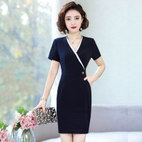 Dress Autumn 2020 Black dress piece, blue dress piece, long sleeve black dress piece S,M,L,XL,2XL,3XL,4XL Middle-skirt singleton  Long sleeves commute V-neck middle-waisted Socket One pace skirt other Others Simplicity Pocket, button, zipper B3266 More than 95% other polyester fiber