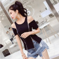 T-shirt White black Average size Summer of 2018 Short sleeve Crew neck Self cultivation Regular routine street cotton 71% (inclusive) - 85% (inclusive) 18-24 years old Zipper stitching Punk