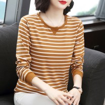 T-shirt Yellow, black, pink, camel M,L,XL,2XL,3XL,4XL Spring 2021 Long sleeves Crew neck easy Regular routine commute cotton 86% (inclusive) -95% (inclusive) 30-39 years old Korean version originality 3D, stripe