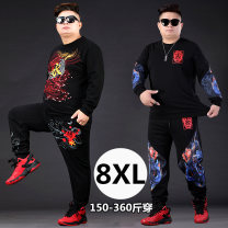 Leisure sports suit autumn 3XL (recommended 160-190 kg), 4XL (recommended 190-210 kg), 5XL (recommended 210-240 kg), 6xl (recommended 240-260 kg), 7XL (recommended 260-280 kg), 8xl (recommended 280-340 kg) Long sleeves Other / other trousers Large size Sweater cotton 2021
