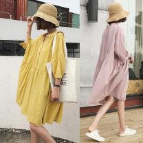 Dress Yunjia White, pink, yellow 50. XL, XXL, XXXL, XXL Korean version elbow sleeve Medium length summer Crew neck Solid color