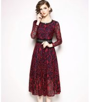 Dress Spring 2021 Red, blue S,M,L,XL,2XL Mid length dress singleton  Long sleeves street Crew neck middle-waisted Decor zipper Big swing routine Others 30-34 years old Type A Other / other Gouhua, hollow out, stitching, lace 51% (inclusive) - 70% (inclusive) Lace polyester fiber Europe and America