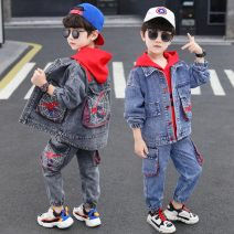 suit Other / other 110cm,120cm,130cm,140cm,150cm,160cm male spring and autumn Korean version Long sleeve + pants 3 pieces routine There are models in the real shooting Single breasted No detachable cap Cartoon animation Denim children Expression of love Class B Chinese Mainland Zhejiang Province