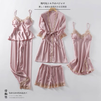 Pajamas / housewear set female Other / other M,L,XL,XXL Iced silk Long sleeves Simplicity Leisure home summer Thin money V-neck Solid color trousers Tether youth rubber string 81% (inclusive) - 95% (inclusive) silk Middle-skirt