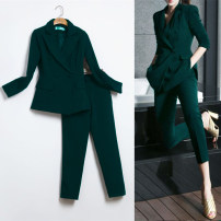suit Spring of 2019 XS,S,M,L,XL,2XL,3XL Long sleeves routine Self cultivation tailored collar double-breasted Versatile routine Solid color 18-24 years old 91% (inclusive) - 95% (inclusive) polyester fiber pocket