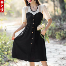 Dress / evening wear Adult ceremony, party, company annual meeting, performance, routine, appointment M,L,XL,2XL,3XL black fashion Medium length High waist Summer 2021 A-line skirt zipper Chemical fiber, chiffon, polyester 26-35 years old Qian fm99159 Short sleeve other The beauty of qianfei