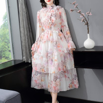 Dress Spring 2021 Pink S,M,L,XL Mid length dress singleton  Long sleeves commute Crew neck middle-waisted Broken flowers zipper Cake skirt Petal sleeve Others 25-29 years old Type A LpDaieR lady Ruffles, stitching, printing More than 95% other polyester fiber
