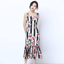 Dress Summer of 2018 Black and white stripes S M L XL Middle-skirt singleton  Sleeveless commute square neck middle-waisted stripe zipper other routine camisole Type X LpDaieR lady Embroidery one hundred and eighty-four thousand eight hundred and two 51% (inclusive) - 70% (inclusive) other cotton