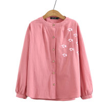 Middle aged and old women's wear Spring 2021, autumn 2021 051 yellow, 051 white, 051 pink, 051 Navy XL [recommended 115-135 kg], 2XL [recommended 135-155 kg], 3XL [recommended 155-175 kg], 4XL [recommended 175-200 kg] commute shirt easy singleton  Big flower 50-59 years old Cardigan moderate routine