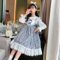Dress (suit) suspender + Lace long sleeve , (single piece) sling broken flower female Other / other Polyester 100% spring and autumn princess Long sleeves Broken flowers blending A-line skirt Suspender floral suit Class B Three, four, five, six, seven, eight, nine, ten, eleven, twelve