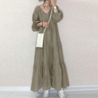 Dress Spring 2021 Picture color Average size longuette singleton  Long sleeves commute V-neck Loose waist Solid color Socket Ruffle Skirt routine Others 18-24 years old Type A Korean version Lotus leaf edge 51% (inclusive) - 70% (inclusive) other cotton
