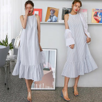 Dress Summer 2020 Black, blue, blue and white, apricot, black and white, white short, white long, black short One size fits all, s, L longuette singleton  Sleeveless commute Crew neck Loose waist Solid color zipper Ruffle Skirt Hanging neck style 18-24 years old Type A Other / other Korean version