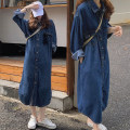 Dress Autumn 2020 Picture color Average size Mid length dress singleton  Long sleeves commute Polo collar High waist Solid color Single breasted Big swing shirt sleeve Type H Korean version Pocket, button cotton