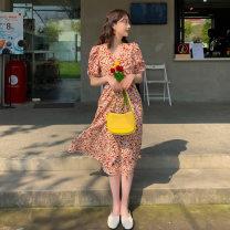 Dress Summer 2021 Decor S,M,L,XL longuette singleton  Short sleeve commute V-neck High waist Broken flowers Socket other 18-24 years old Other / other Korean version