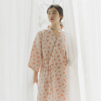 Nightdress August Gesang Green, pink XL,S,M,L Sweet three quarter sleeve pajamas Middle-skirt summer Plants and flowers youth V-neck cotton More than 95% pure cotton