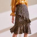 skirt Spring 2021 S,M,L Yellow floret Mid length dress commute High waist A-line skirt Decor Type A BQ00807 More than 95% Crepe de Chine The magic magician of Oz silk