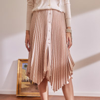 skirt Spring 2021 S,M,L Black, gray, beige Mid length dress commute High waist Pleated skirt stripe BQ00797 51% (inclusive) - 70% (inclusive) other The magic magician of Oz polyester fiber