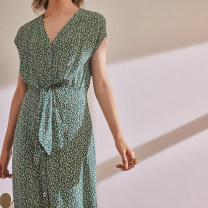 Dress Spring 2021 Green flowers, gray flowers S,M,L,XL singleton  Short sleeve commute V-neck High waist Broken flowers Single breasted A-line skirt Sleeve Type H The magic magician of Oz LSQ001885 More than 95% other silk