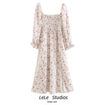 Dress Summer 2020 Decor S,M,L Mid length dress singleton  Long sleeves commute square neck High waist Decor A-line skirt Type A printing 51% (inclusive) - 70% (inclusive) other