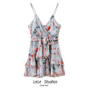 Dress Summer 2021 Decor S,M,L Short skirt singleton  Short sleeve commute V-neck High waist Decor A-line skirt camisole 18-24 years old Type A Bow, Ruffle 51% (inclusive) - 70% (inclusive) other other