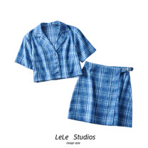 shirt S,M,L Summer 2020 other 51% (inclusive) - 70% (inclusive) Short sleeve Versatile Regular tailored collar Single row multi button routine lattice High waist type Button