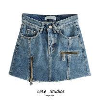 skirt Autumn 2020 XS,S,M,L Short skirt Versatile High waist A-line skirt other Type A 51% (inclusive) - 70% (inclusive) other