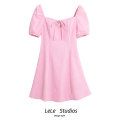 Dress Summer 2021 Pink L,M,S Short skirt singleton  Short sleeve Sweet square neck High waist Solid color A-line skirt Others 18-24 years old Type A bow 51% (inclusive) - 70% (inclusive) other other