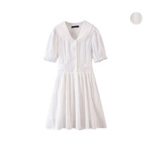 Dress Summer 2020 white S,M,L Short skirt singleton  Short sleeve commute High waist Solid color Single breasted A-line skirt Type A Button 51% (inclusive) - 70% (inclusive)