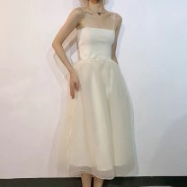 Dress Spring 2021 Apricot L,S,M Mid length dress singleton  Sleeveless commute other High waist Solid color Socket Princess Dress other camisole 18-24 years old Type A Other / other Korean version backless 91% (inclusive) - 95% (inclusive) Chiffon acrylic fibres