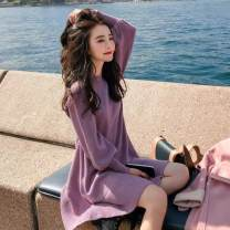 Dress Autumn 2021 Apricot, purple S,M,L,XL Short skirt singleton  Long sleeves Sweet Crew neck Loose waist Solid color Socket Princess Dress bishop sleeve Others Type A Other Splice, threaded knitting other Ruili
