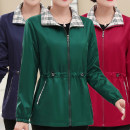 short coat Autumn of 2019 XL,2XL,3XL,4XL,5XL Red, green, navy Long sleeves routine Thin money singleton  easy commute routine square neck zipper Solid color 40-49 years old Other / other 96% and above Pocket, zipper Mother's spring and autumn windbreaker other
