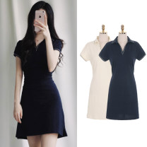 Dress Summer 2020 Apricot, Navy S,M,L,XL Short skirt singleton  Short sleeve commute Polo collar High waist Solid color Socket A-line skirt shirt sleeve 18-24 years old Type A Korean version Lace up, splice, strap cotton