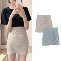 skirt Summer 2020 XS,S,M,L,XL Green skirt, rice apricot skirt, black T-shirt, lace shirt Short skirt commute High waist skirt Solid color Type A 18-24 years old 31% (inclusive) - 50% (inclusive) Other / other Fold, asymmetry, zipper Korean version