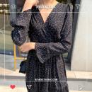 Dress Autumn 2020 black S,M,L,XL longuette singleton  Long sleeves commute V-neck High waist Dot A-line skirt pagoda sleeve 18-24 years old Type A Korean version Chiffon