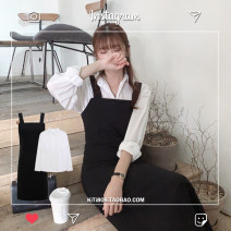 Dress Autumn 2020 White shirt, black suspender skirt S,M,L,XL longuette Two piece set Long sleeves commute square neck High waist Solid color A-line skirt shirt sleeve straps 18-24 years old Type A Korean version Pleating, folding, stitching 31% (inclusive) - 50% (inclusive) polyester fiber