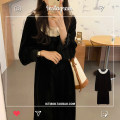 Dress Winter 2020 black S,M,L longuette singleton  Long sleeves commute Crew neck High waist Solid color Socket A-line skirt routine Others 18-24 years old Type A Korean version Splicing polyester fiber