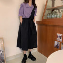 Women's large Summer 2020 Purple shirt, white shirt, black skirt, purple shirt + black skirt, white shirt + black skirt M (80-100kg), l (100-120kg), XL (120-140kg), 2XL (140-160kg), 3XL (160-180kg), 4XL (180-200kg) Other oversize styles Two piece set commute easy moderate Socket Short sleeve other