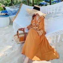 Dress Spring 2021 orange S,M,L longuette singleton  Long sleeves commute V-neck Loose waist Big swing pagoda sleeve Type A ethnic style cotton