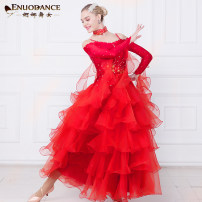 Modern dance suit (including performance clothes) Graceful dancer Waltz, tango, Foxtrot, trot female Rose, pink, red, sapphire, lake blue S,M,L,XL,XXL,XXXL Sequins MQ275