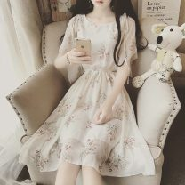 Dress Summer 2021 Cream, light blue, white bra S,M,L,XL,2XL Middle-skirt singleton  Short sleeve Sweet Crew neck middle-waisted Decor Socket A-line skirt Flying sleeve Hanging neck style 18-24 years old Type A Frenulum 81% (inclusive) - 90% (inclusive) Chiffon nylon Lolita