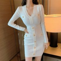 Dress Winter 2020 White, black S,M,L Short skirt singleton  Long sleeves commute V-neck High waist Solid color zipper Pencil skirt routine Korean version Button 31% (inclusive) - 50% (inclusive) knitting