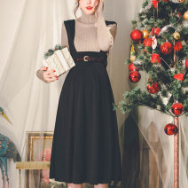 skirt Winter 2020 S code, M code, l code, s code 15 days in advance, l code 15 days in advance Black [belt to be photographed separately] longuette Retro High waist A-line skirt Solid color Type A 20FD1201 More than 95% other Miss egg / MI AI polyester fiber Strap, zipper