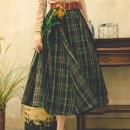 skirt Autumn 2020 S code, M code Dark green (not including belt, can be taken separately) longuette Retro High waist Umbrella skirt lattice Type A 20FD0802 More than 95% other Miss egg / MI AI polyester fiber Fold, zip, splice